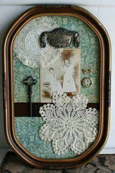 oak antique shadow box bubble frame - Could do this with my shadow boxes - doilies and pictures of my grandparents, etc Cadre Photo Diy, Doily Art, Decoration Shabby, Doilies Crafts, Crochet Doilies, Frame Crafts, Vintage Crafts, Etsy Vintage, Vintage Art
