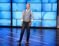 Ellen's Look of the Day: A.P.C. Jeans, Junya Watanabe shirt, a plaid vest and Sartore saddle shoes.