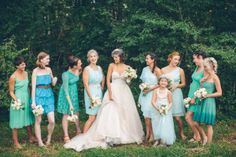 blueish/ greenish bridesmaid dresses  Photography by puregoldphoto.com