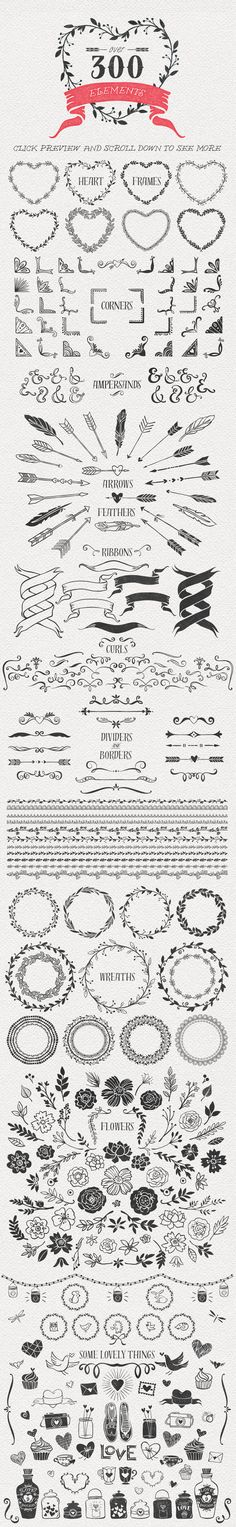 Hand Drawn Romantic Decoration Pack - Illustrations - 3