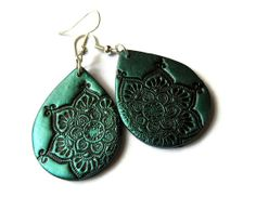 Lotus mandala earrings teal  black polymer clay by MoonsafariBeads, $19.00