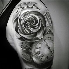 unique shoulder tattoos roses clock