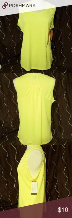 Champion Sports Tank Semi Fitted Body Slimming Fit Quick Drying UV Protection Ventilation for cooling Neon Yellow New with Tags Champion Tops Tank Tops