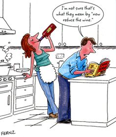 Cooking with #wine turns up the heat on #humor in the kitchen. Get a good laugh with these cartoons, ecards and jokes at http://homebars.barinacraft.com/post/88186271078/cooking-with-wine-cartoons-jokes-and-quotes