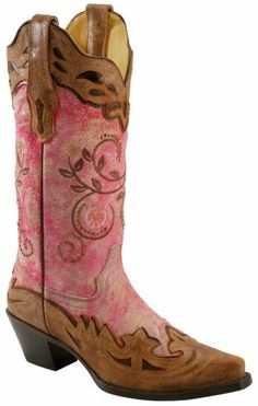 Corral Neon Pink Cognac Overlay Cowgirl Boots - Snip Toe - Sheplers