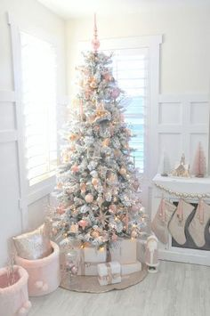 Blush pink + rose gold white flocked vintage inspired Christmas tree by Kara's Party Ideas | Kara Allen for Michaels Dream Tree Challenge 2016