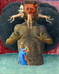 """discardingimages: """" climbing down Satan's fur Dante, Divina Commedia, Urbino and Ferrara 1477-1478 Biblioteca Apostolica Vaticana, Urb.lat.365, fol. 93v """""""
