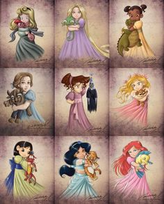 disney :) Cute rendition of young characters, love the Meg one with Hades.