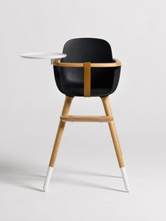 Ergonomic high-chair with ecological materials. Designed to give a comfortable seat for the baby.