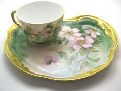 Rare Limoges France Tea Cup and Snack Plate  por BeadsbyVince