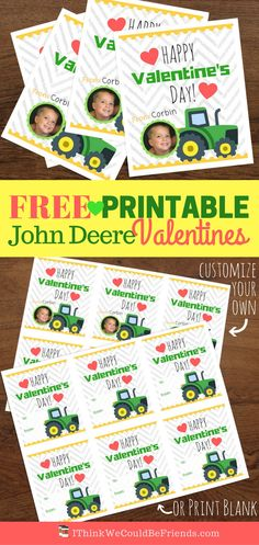 Free Printable John Deere Tractor Valentine's for Boys! (Or girls! Free Valentine Cards, Printable Valentines Day Cards, Valentine Day Boxes, Valentines For Boys, Lego Valentines, Valentine Picture, Valentines Day Pictures, Valentine's Cards For Kids, Kids Daycare