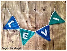 Naam slinger gehaakt. Ook leuk als kraamcadeau. #haken #crochet name garland