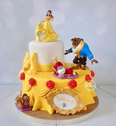 and the Beast cake by BuBakes (.uk)Beauty and the Beast cake by BuBakes (. Beauty And The Beast Cake Birthdays, Beauty And Beast Birthday, Beauty And The Beast Theme, Beauty Beast, Belle Birthday Cake, Princess Birthday, Bolo Fack, Decors Pate A Sucre, Pear And Almond Cake