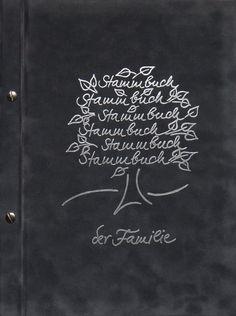 Din A4 Stammbuch der Familie, silberner Stammbuchbaum auf dunkelgraum Samt. Auch in Din A5 und Standardformat erhältlich