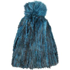 Yves Salomon Mink knitted fur beanie with fox fur pompon ($189) ❤ liked on Polyvore featuring accessories, hats, green, mink hat, fur pom-pom hats, pompom hat, fur beanie and fur pom pom hat