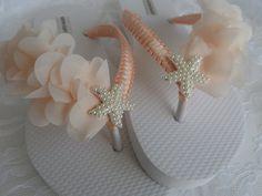 Salmón novia chanclas playa boda Flip Flops chanclas de