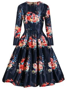 Retro Long Sleeve Floral Print Rockabilly Cocktail Party Dresses