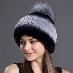 (41.75$)  Buy here  - Winter Russian 2016 Hats Beniees For Women's  Real Rabbit Fur With Fox Fur Big Lovely Ball Style Caps Trendy Genuine Fur Hats