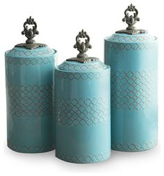 Canisters, Set of 3, Blue - contemporary - food containers and storage - by Jay Import