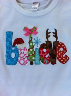 Girl Christmas Shirt or Onesie - Infant or Toddler - BELIEVE - Rudolph - Santa - Personalized - Christmas Tree. $26.00, via Etsy.