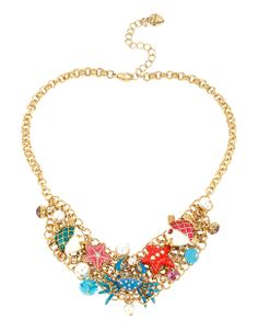 BETSEY JOHNSON Crab Multi Charm Frontal Necklace
