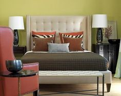 I have a similar headboard and Brendan likes zebra. Masculine but not too much.