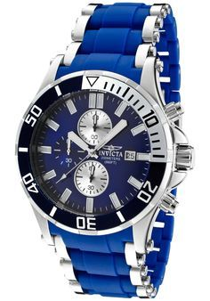 Invicta 1477 Watches,Men's Sea Spider Chronograph Blue Dial Stainless Steel and Blue Polyurethane, Chronograph Invicta Quartz Watches