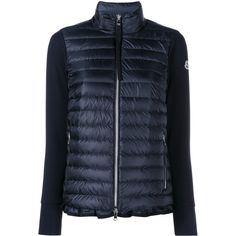MONCLER Knitted Arm Quilted Jacket (43.430 RUB) ❤ liked on Polyvore featuring outerwear, jackets, navy quilted…