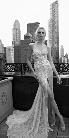 inbal dror 2016 wedding dress with strapless sweetheart sheath lace wedding dress embellished bodice button slit skirt train style 01 mv