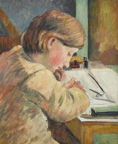 Camille Pissarro Paul Writing hand painted oil painting reproduction on canvas by artist Claude Monet, Pont Royal, Camille Pissarro Paintings, French Impressionist Painters, Impressionist Paintings, Oil Canvas, Painting Canvas, Writing Art, Post Impressionism