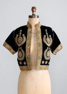 Vintage 1940s Embroidered Velvet Bethlehem Jacket