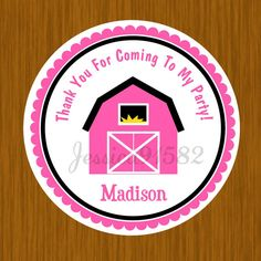 Farm Barn Birthday Favor Stickers  Name and by jessica91582, $3.50