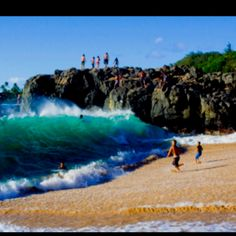 amazing bravery willing to jump into that wave as it comes crashing to the beach