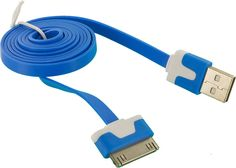 Amazon.com: mySimple [10' Feet - Single Pack] of 30 Pin to USB 2.0 Data Sync Charger w/ Tangle Free Smooth Flat Noodle Outer Jacket Made of Rubber w/ Matte Design for Apple iPads, iPods & iPhones {Blue & White}: Cell Phones & Accessories