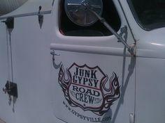 Junk Gypsy fire truck in Round Top, Teas Old Trucks, Fire Trucks, Door Signage, Shop Truck, Rat Fink, Round Top, Logos, Teas, Gypsy