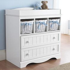 Love this one. South Shore™ 'Cottage' Nursery Change Table at Sears.ca, $229.99  Love this!! I'd take out the baskets and use it for books and put the kids' piggy banks and stuff on top! :)