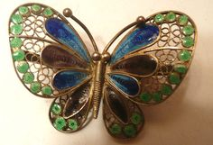 BEAUTIFUL 800 SILVER FILIGREE ENAMEL BUTTERFLY PIN BROOCH