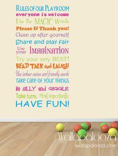 Playroom Rules - cute!