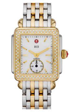 MICHELE 'Deco 16 Diamond' Two Tone Watch Case   Nordstrom