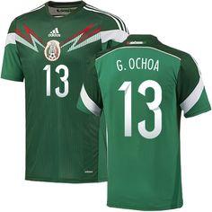 b695e13c955 Mexico Copa Centenario Jersey 2016 Mens Adidas Mexico 13 Guillermo Ochoa  Replica Green Home 2014 World Cup Soccer Jersey ...