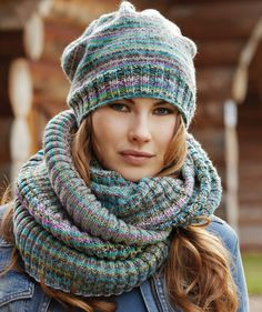 Free Pattern: Ladies' Tube Scarf & Beret - I like the scarf and it would be a good starting off knitting in the round.