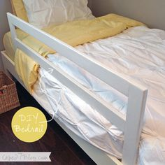 Simple, diy wooden bed rail. - Perhaps add a hinge, and extend the underneath and make it double...