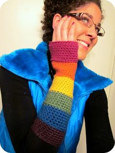 February Jones: Crochet Rainbow Fingerless Gloves - Free Pattern