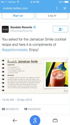 Jamaican Smile Drink from Sandals. My FAVORITE drink from our trip!