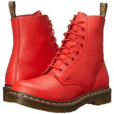 Dr. Martens Pascal Women's Lace-up Boots ($135) ❤ liked on Polyvore featuring shoes, boots, ankle boots, lace up boots, shiny boots, front lace up boots and laced boots