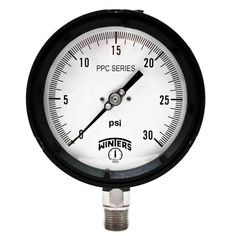 PPC Series 4.5 in. Black Phenolic Case Process Pressure Gauge with 1/2 in. NPT LM and Range of 0-30 psi