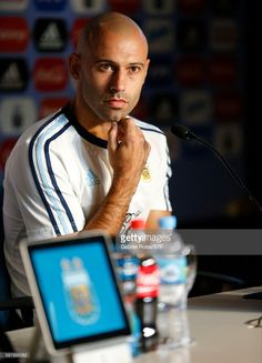 Javier Mascherano of Argentina speaks during a press conference at Argentine Football Association (AFA) 'Julio Humberto Grondona' training camp on August 30, 2016 in Ezeiza, Argentina. Argentina will face Uruguay on September 01, 2016.