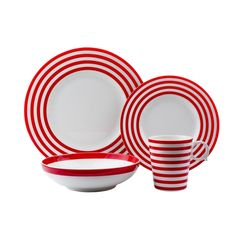 Red Vanilla Freshness Lines Red Porcelain 4-piece Place Setting