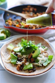 Chicken, Black Bean and Sweet Potato Tacos / Bev Cooks