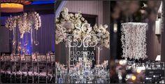 Suhaag Garden, Indian Wedding Reception, White & Blue, Modern Reception Centerpieces, Winter Wedding